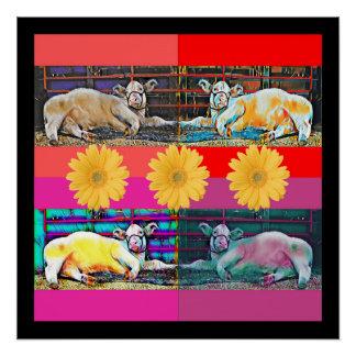 牛ポップアートポスター元の写真のデジタル芸術 ポスター