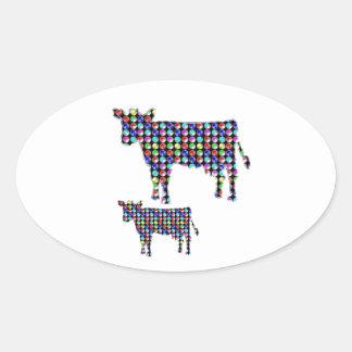 牛乳の動物の国内点のnavinJOSHI NVN91のおもしろい 楕円形シール