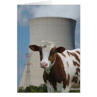 牛及び原子力の冷却塔の挨拶状 カード