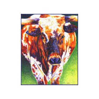 牛女の子-長角牛の雌牛 キャンバスプリント