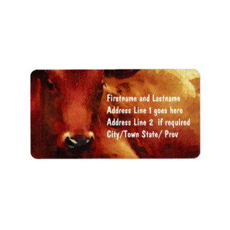 牛牧場主、肉屋またはビーフの飼育用地 ラベル