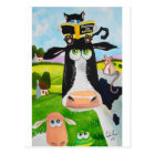 牛猫のヒツジカエルを絵を描いているかわいい動物 ポストカード