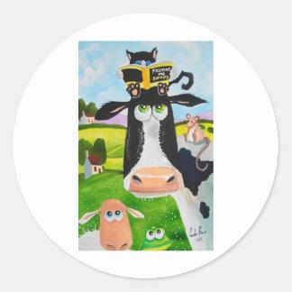 牛猫のヒツジカエルを絵を描いているかわいい動物 ラウンドシール