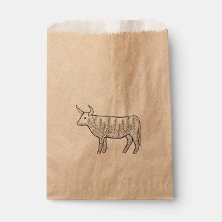 牛線画のデザイン フェイバーバッグ