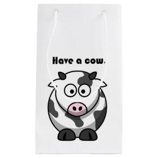 牛酪農場のホルスタイン漫画を持って下さい スモールペーパーバッグ