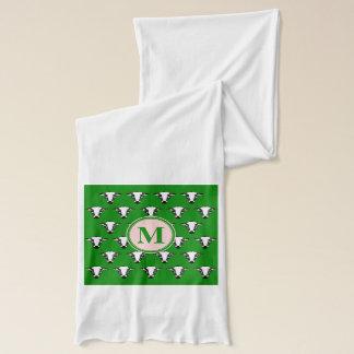 牛顔はzazzleパターン深緑色.pngをタイルを張りました スカーフ