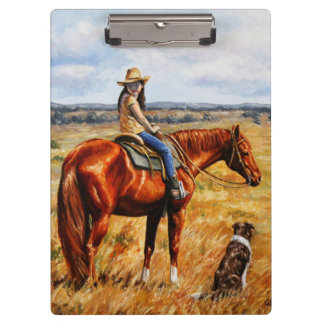 牛馬の小さい女性のカーボーイ クリップボード