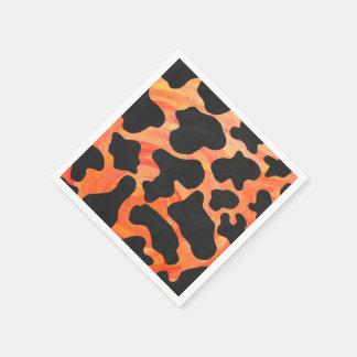 牛黒いおよびオレンジプリント スタンダードカクテルナプキン