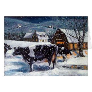 牛: クリスマス: 雪: 芸術: ホルスタイン カード