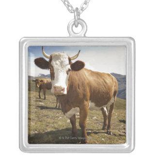 牛 シルバープレートネックレス
