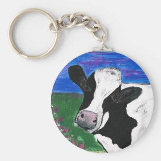 牛、農場、動物、田園の、手塗りの子牛 キーホルダー