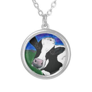 牛、農場、動物、田園の、手塗りの子牛 シルバープレートネックレス