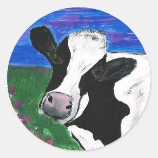 牛、農場、動物、田園の、手塗りの子牛 ラウンドシール