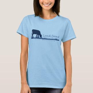 牛Lasaのティーを牧草を食べること Tシャツ