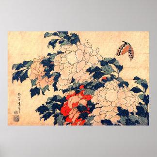 牡丹と蝶、北斎のシャクヤクおよび蝶、Hokusaiの浮世絵 ポスター