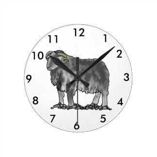 牡羊座のラムのHerdwickのヒツジの芸術の時計 ラウンド壁時計