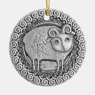 牡羊座の硬貨基本的なボタンのオーナメント セラミックオーナメント