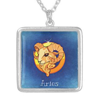 牡羊座の(占星術の)十二宮図のネックレス シルバープレートネックレス