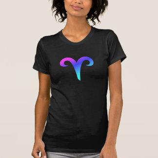 牡羊座の(占星術の)十二宮図の印のピンクの青い紫色の水の占星術 Tシャツ