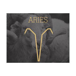 牡羊座の(占星術の)十二宮図の印|のカスタムな背景 + 文字 キャンバスプリント