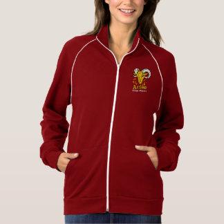 牡羊座はラムの(占星術の)十二宮図の占星術の女性ジャケットのファスナーを締めます ジャケット