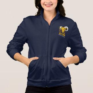 牡羊座はラムの(占星術の)十二宮図の占星術の女性ジョガーのファスナーを締めます 印刷ジャケット