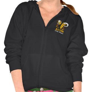 牡羊座はラムの(占星術の)十二宮図の占星術の女性フード付きスウェットシャツのファスナーを締めます フード付きスウェットシャツ