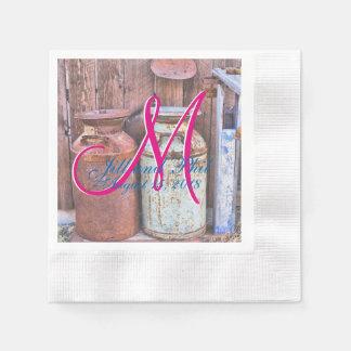 牧場牛ヴィンテージの金属のミルク水差しの結婚 縁ありカクテルナプキン