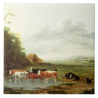 牧夫および牛(canvaとの景色の油 タイル