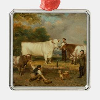 牧夫を持つ牛 メタルオーナメント