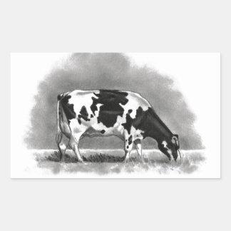 牧草を食べているホルスタイン牛: 現実主義の鉛筆のスケッチ 長方形シール