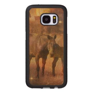 牧草を食べている西部の馬 ウッドSamsung GALAXY S7 ケース