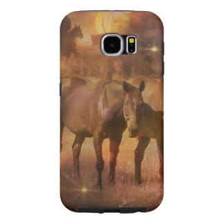牧草を食べている西部の馬 SAMSUNG GALAXY S6 ケース