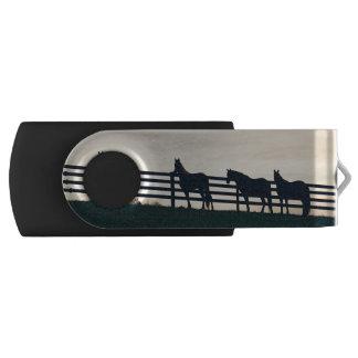 牧草地の塀の乗馬の馬 USBフラッシュドライブ
