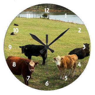 牧草地の柱時計の牛 ラージ壁時計