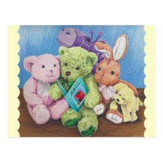 物の動物の円の時間芸術のプリント ポストカード