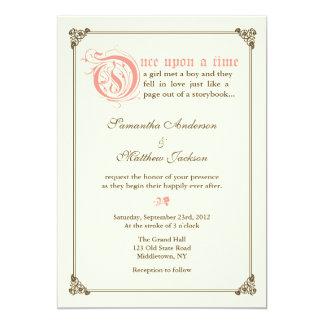 物語の本のおとぎ話の結婚式招待状-ピンク カード