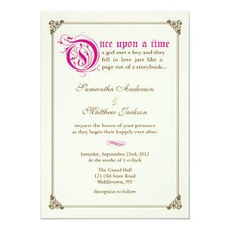 物語の本のおとぎ話の結婚式招待状-マゼンタ カード