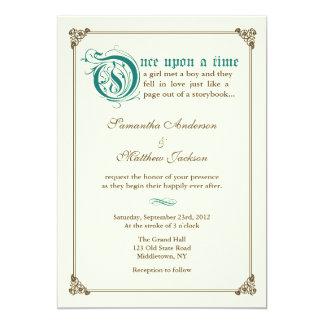 物語の本のおとぎ話の結婚式招待状-暗いティール(緑がかった色) カード