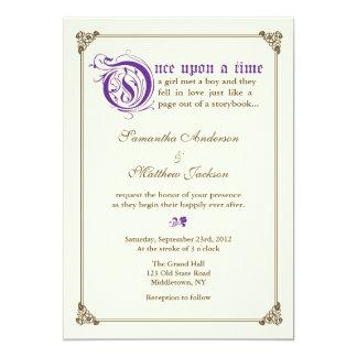 物語の本のおとぎ話の結婚式招待状-紫色 カード