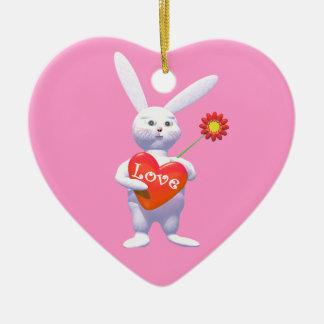 特別なバレンタイン愛バニー セラミックオーナメント