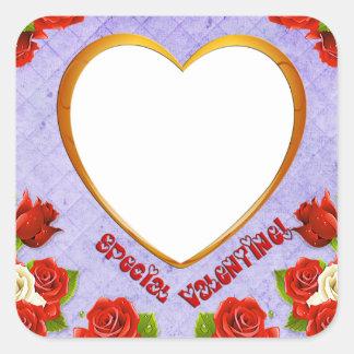 特別なバレンタイン、バラおよびフレームは写真を加えます スクエアシール