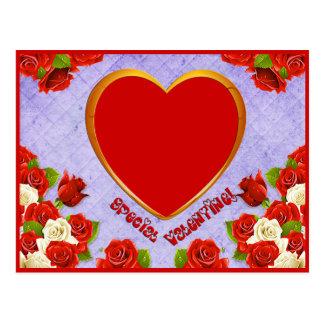 特別なバレンタイン、バラおよびフレームは写真を加えます ポストカード