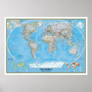 特大の政治世界地図ポスタープリント ポスター