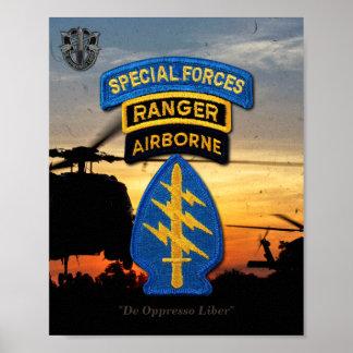特殊部隊の緑色のベレー帽のレーンジャーSF SFG ポスター