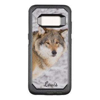 犠牲を捜す冬の森林のカスタムなオオカミ オッターボックスコミューターSamsung GALAXY S8 ケース