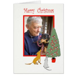 犬およびクリスマスツリー、メリークリスマス、カスタム。 カード