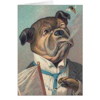 犬およびスズメバチのヴィンテージのイラストレーション カード
