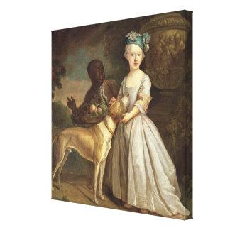 犬およびページ1720-30年を持つ若い女の子(油o キャンバスプリント