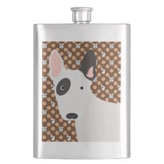 犬および花のブラウンブルテリアのフラスコ フラスク